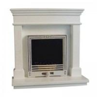 Dollhouse Modern White Fireplace - Product Image
