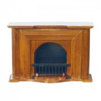 Dollhouse Walnut Georgian Fireplace - Product Image