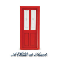 Dollhouse Transom Door - Red - Product Image