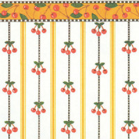3 Shts - Dollhouse Cherry Stripe Paper - Product Image