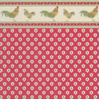 3 Shts - Dollhouse Rooster Wallpaper - Product Image