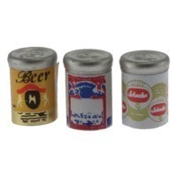 (**) Dollhouse 3 Assorted Beer Cans - Product Image