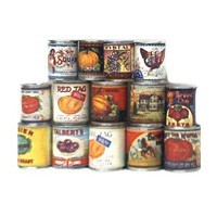 § Sale .30¢ Off - Dollhouse Vintage Fruit or Vegetable Cans - Product Image