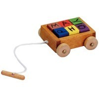 Dollhouse Toy Wagon with Blocks - Product Image