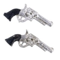 § Sale .60¢ Off - 2 Dollhouse Silver Pistols - Product Image