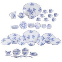 Dollhouse 50 pc Dish Set - Blue Flowers - Product Image