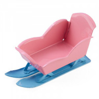 (*) Dollhouse Pink & Blue Baby Sled - Product Image