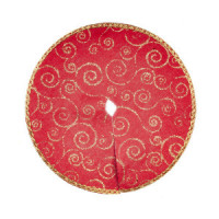 (*) Dollhouse Gold & Red Tree Skirt - Product Image