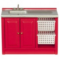 Dollhouse Modern Red Laundry Sink - Product Image