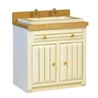 () Sale $2 Off - Oak & White Ribbed Front Sink - Product Image