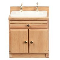 Dollhouse Oak Cabinet w/White Sink - Product Image