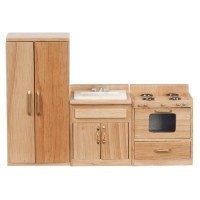Dollhouse 3 Pc. Oak Kitchen Set - Product Image