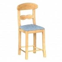 Dollhouse Padded Bar Stools / Oak & Blue - Product Image