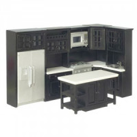 Dollhouse Black Kitchen Set - Product Image