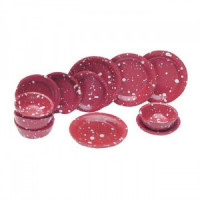 (*) 8 pc Red Enamelware Dishes - Product Image