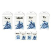 (*) Dollhouse Blue Delft Canisters by Chrysnbon - Product Image