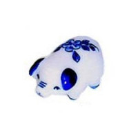 § Sale .60¢ Off - White & Blue Ceramic Pig - Product Image