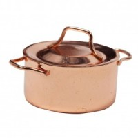 Dollhouse Copper Pot with Lid - Product Image