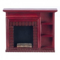 Dollhouse Mahogany Fireplace with Shelving - Product Image