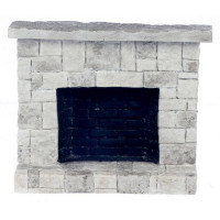 Small Dollhouse Cut Stone Fireplace - Product Image