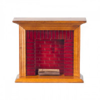(§) Sale $2 Off - Walnut Fireplace with Brick - Product Image