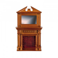 Dollhouse Walnut Fireplace with Mirror - Product Image