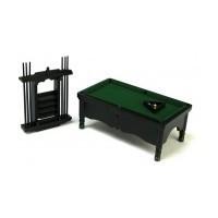 Sale $10 Off - Dollhouse Black Pool Table Set - Product Image