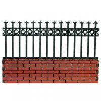 Dollhouse 6 inch Bricked Fence Section - Product Image