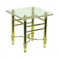 Dollhouse Brass End Table with Clear Top - Product Image