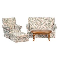 Dollhouse 4 pc White Floral Walnut Den Set - Product Image