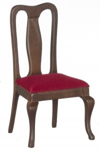 Dollhouse Walnut Dining Chair with Cushion - Product Image