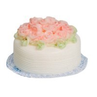 Dollhouse White Cake With Pink Roses - Product Image