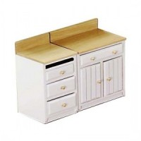 (**) 1 or 2 pc Lower Cabinet Set - White & Oak - Product Image