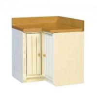 (*) Modern Coner Cabinet - White & Oak - Product Image
