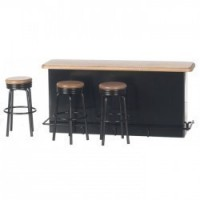 Dollhouse 1950's Retro Counter - Oak & Black - Product Image