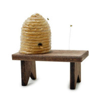 Dollhouse Bee Hive on Bench - Product Image
