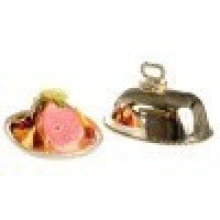 Dollhouse Ham & Fruits On Metal Tray - Product Image