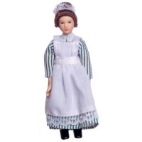 Porcelain Maid Doll in Blue/Green & White - Product Image