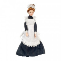 Porcelain Maid Doll in Black - Product Image