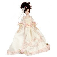 Porcelain Lady Victorian Doll - White Gown - Product Image