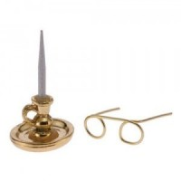 Dollhouse Candle Stick & Glasses - Product Image