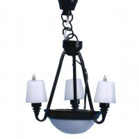 Black 3 Arm Chandelier with Shades - Product Image