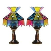 Set of 2 Dollhouse Tiffany Table Lamps - Product Image