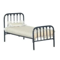 (*) Dollhouse Single Black or White Metal Bed - Product Image
