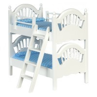 Dollhouse Spindle Bunk Bed w/ Ladder - White - Product Image