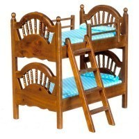 Dollhouse Spindle Bunk Bed w/ Ladder - Walnut - Product Image