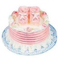 (*) Dollhouse Pink Booties Cake - Product Image