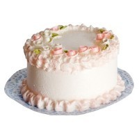 "(**) 1/2"" or 1"" Scale White Cake with Pink Roses - Product Image"