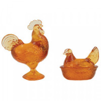 (*) Dollhouse Rooster & Hen Candy Dishes - Product Image