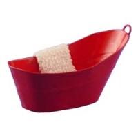 Dollhouse Galvanized Bathtub with Towel - Product Image